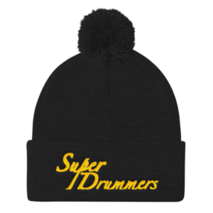 Super Drummers Gold Pom Pom Knit Cap